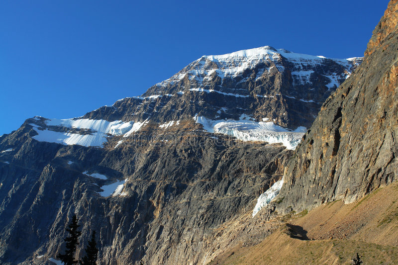 Berg Edith en gletsjer stock foto