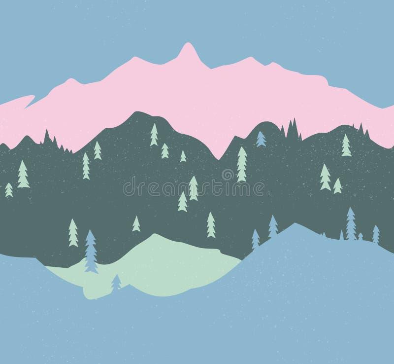 Berg en bos naadloos patroon Eindeloze illustratie stock illustratie