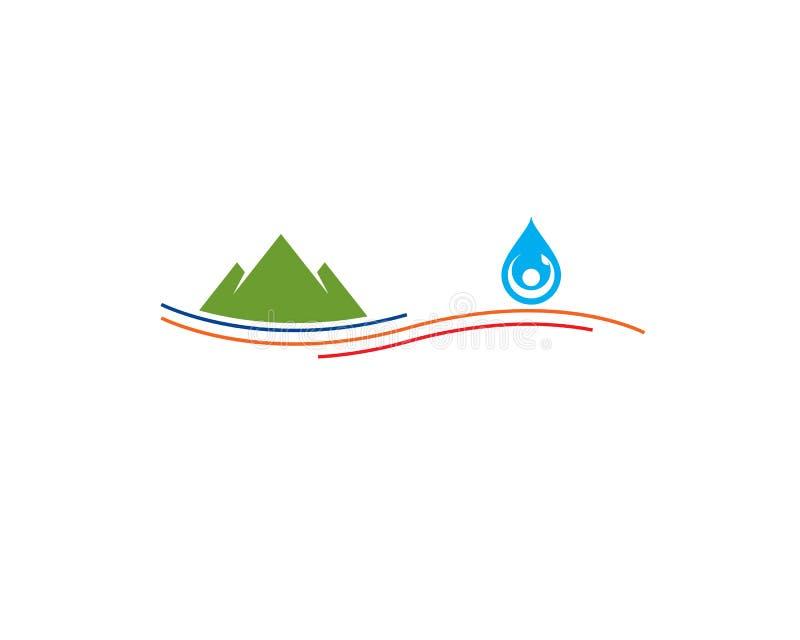 Berg en menselijk cijferdruppeltje hierboven - de lijn van de waterstroom royalty-vrije illustratie