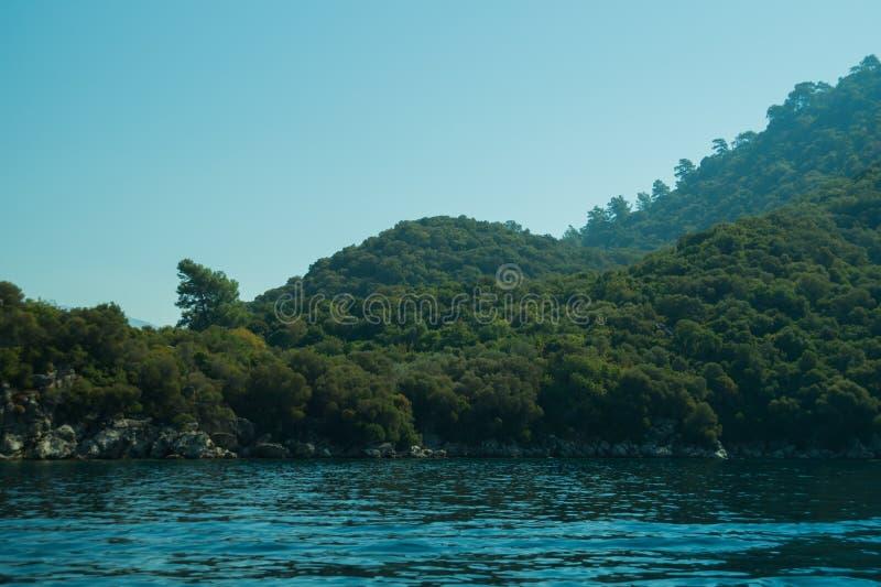 Berg en Overzees kustlijn met de bos en rotsachtergrond royalty-vrije stock foto's