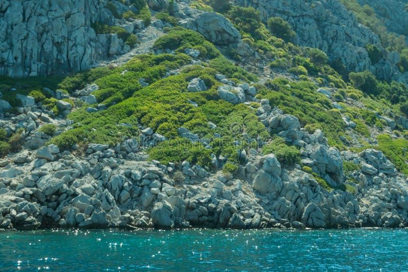 Berg en Overzees kustlijn met de overwoekerde rots stock afbeeldingen