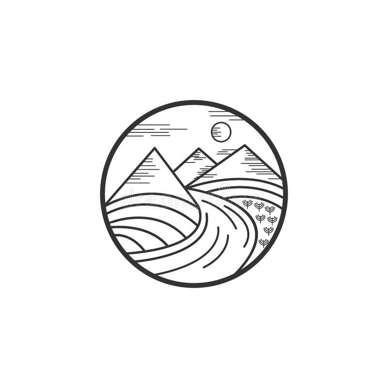 Berg en rivierembleemontwerpen royalty-vrije illustratie