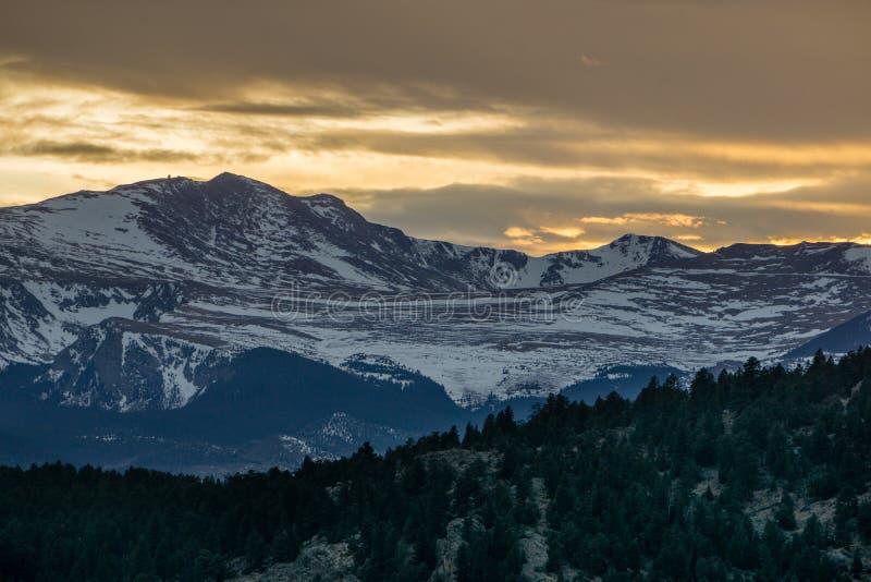 Berg Evans Sunset lizenzfreies stockbild