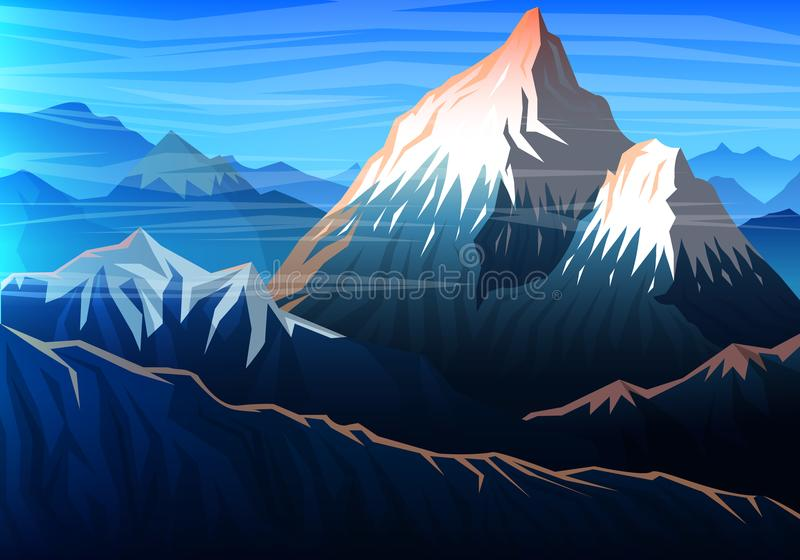Berg everest, aftonpanoramautsikt av maxima, landskap tidigt i ett dagsljus lopp eller campa och att klättra utomhus- stock illustrationer
