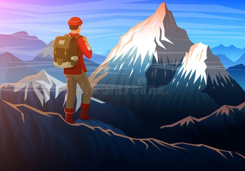 Berg everest med turisten, aftonpanoramautsikt av maxima, landskap tidigt i ett dagsljus lopp eller campa stock illustrationer