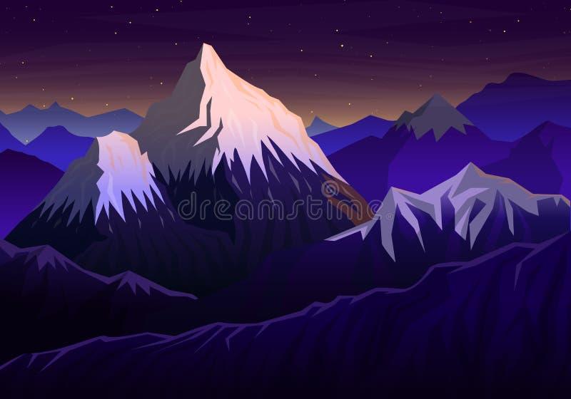Berg everest, panorama- afton med solnedgångsikten och maxima, landskap tidigt i ett dagsljus lopp eller campa vektor illustrationer