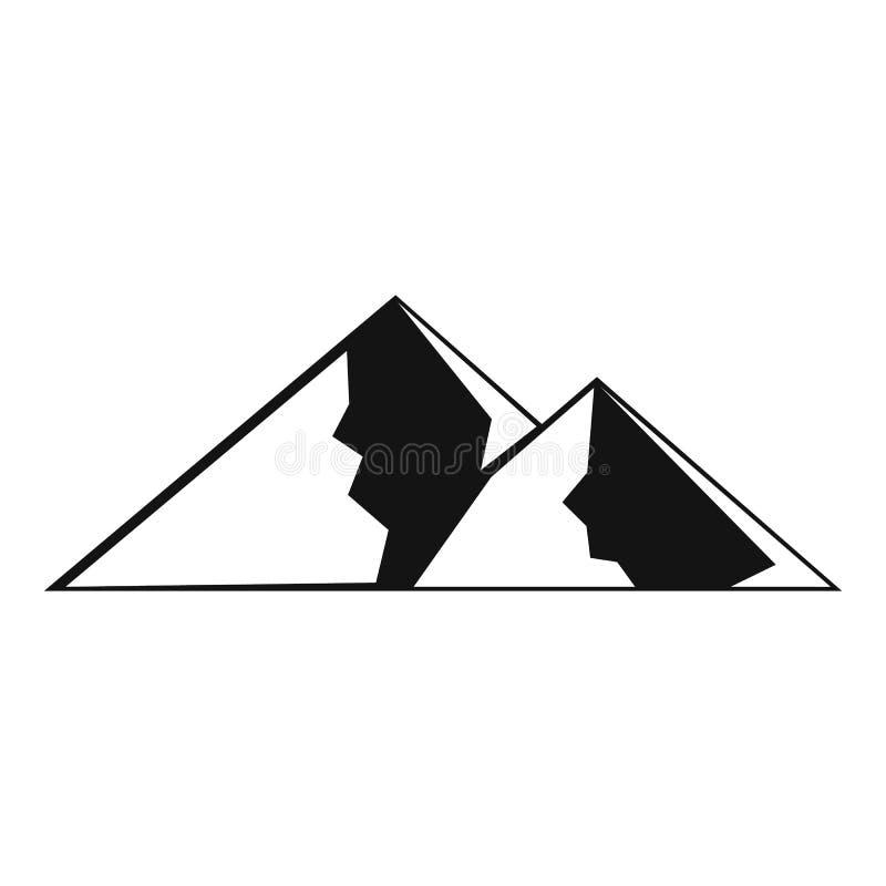 Berg för den extremal symbolen, enkel stil royaltyfri illustrationer