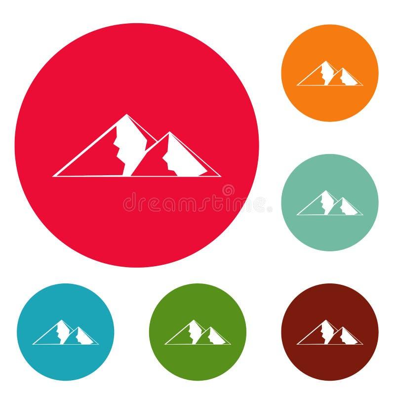 Berg för extremal symbolscirkeluppsättning royaltyfri illustrationer