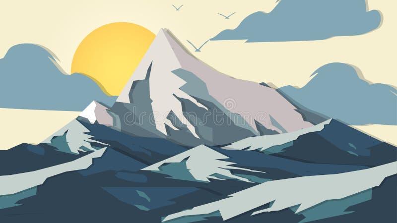berg för Papper-snitt stilApplique - vektorillustration royaltyfri illustrationer