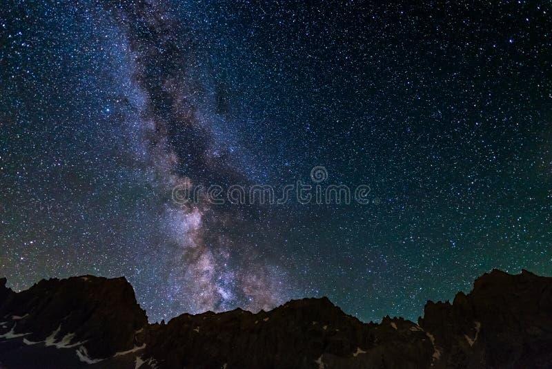 Berg för stjärnklar himmel för Vintergatan profilerar steniga konturn som fångas från hög höjd på fjällängarna arkivbilder