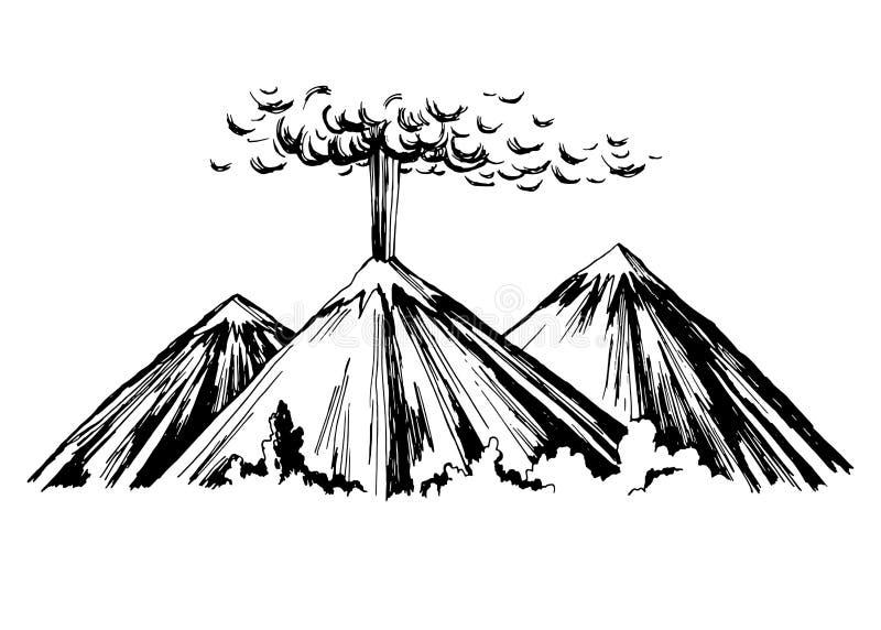 Berg för utbrott tre royaltyfri illustrationer