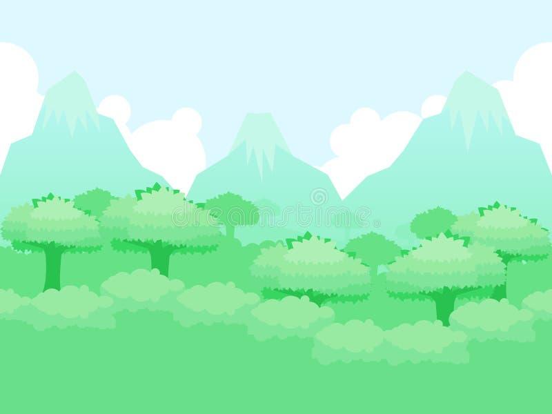 Berg Forest Video Game Background stock illustratie