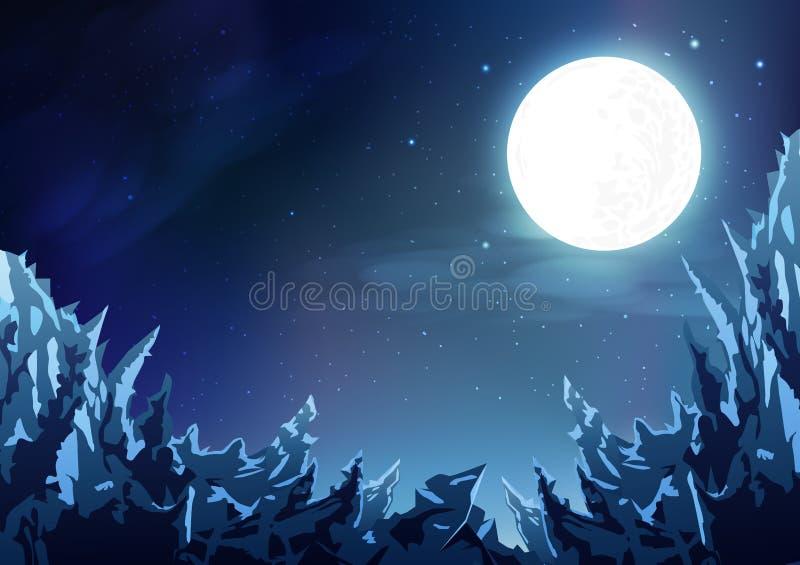Berg gör sammandrag bakgrund, plats för molnig himmel för natt för ispanoramafantasi magisk med fullmånen, stjärnor sprider på ga stock illustrationer