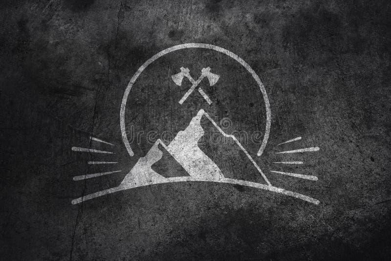 Berg grafisch op beton royalty-vrije stock foto's