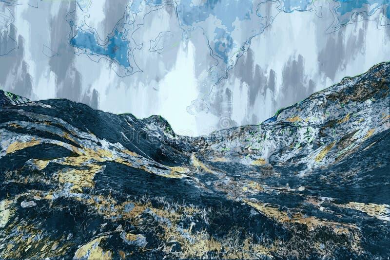 Berg in grijze toon, digitaal schilderen voor achtergrond vector illustratie