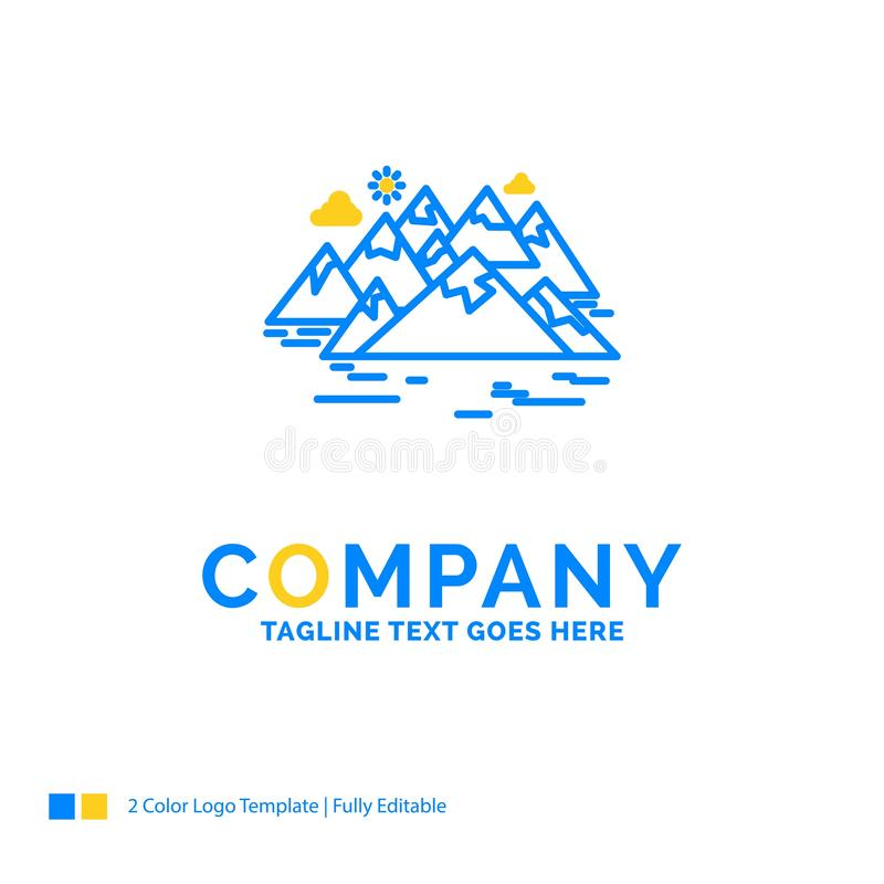 , Berg, Hügel, Landschaft, Felsen, Sprung blaues gelbes Geschäft L lizenzfreie abbildung