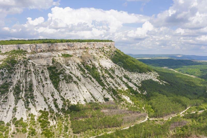 Berg, Hügel mit der verstärkten und umfangreichen, tadellos flachen Spitze umfasst mit Vegetation lizenzfreie stockfotos