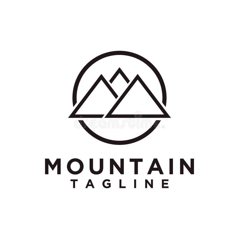 Berg of heuvel of de Piekvector van het embleemontwerp Kamp of avonturen het pictogram, Landschapssymbool en kan voor reis en toe royalty-vrije illustratie