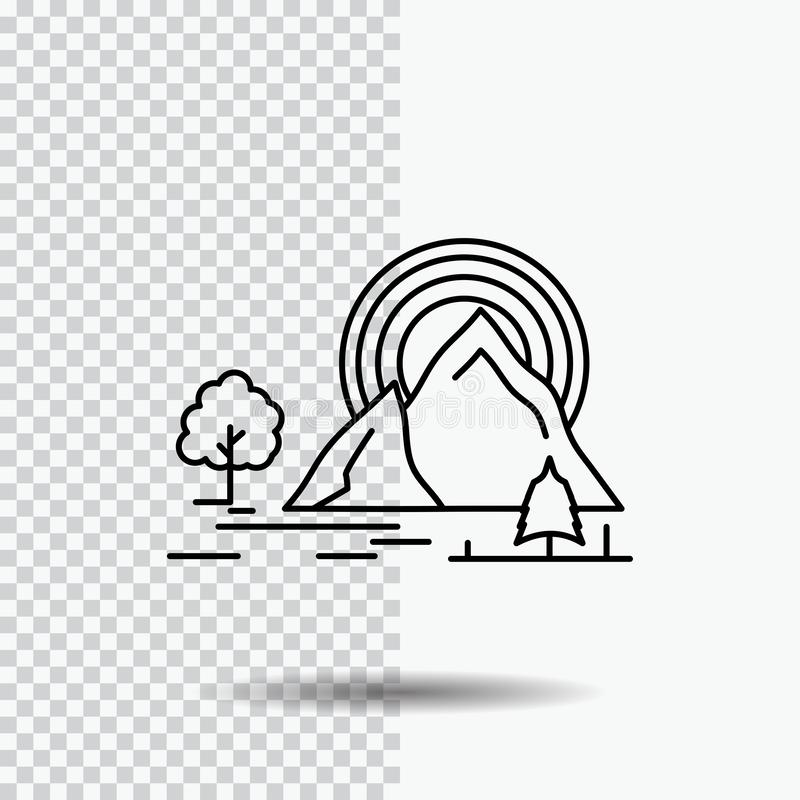 Berg, heuvel, landschap, aard, het Pictogram van de regenbooglijn op Transparante Achtergrond Zwarte pictogram vectorillustratie stock illustratie