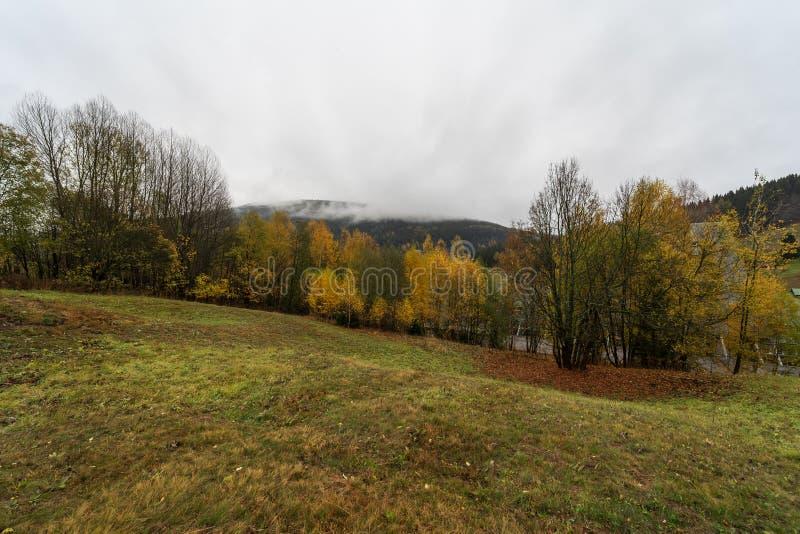 Berg i färgerna av hösten Spindleruv Mlyn royaltyfri fotografi