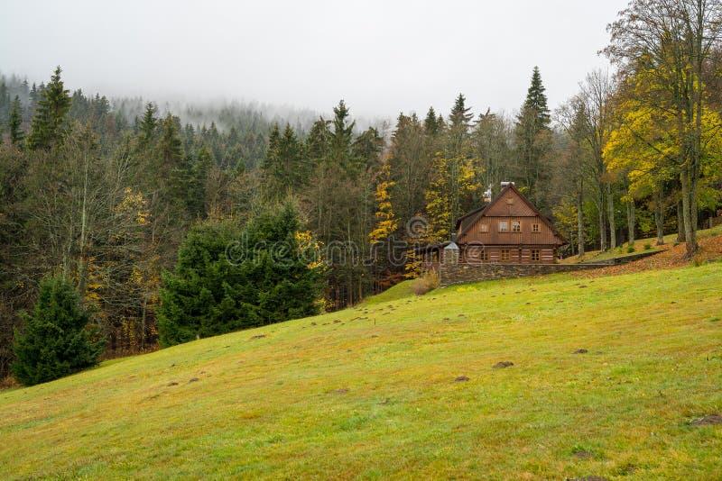 Berg i färgerna av hösten Spindleruv Mlyn arkivfoto