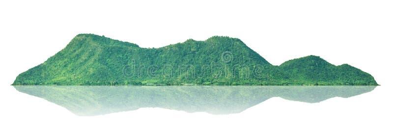 Berg isolerad ö på en vit bakgrund med en slinga arkivbild