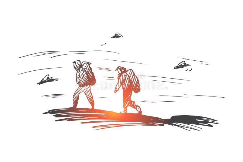 Berg klättring, ytterlighet, sportbegrepp Hand dragen isolerad vektor vektor illustrationer