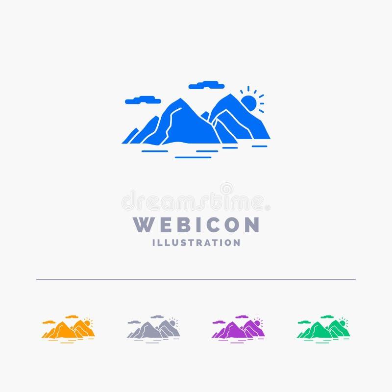 Berg kulle, landskap, natur, för färgskåra för afton som 5 mall för symbol för rengöringsduk isoleras på vit ocks? vektor f?r cor royaltyfri illustrationer