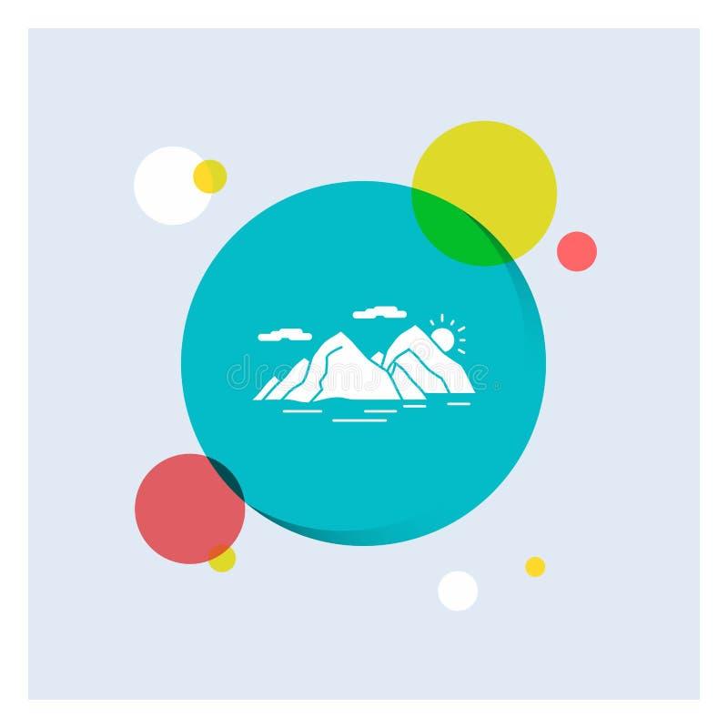 Berg kulle, landskap, natur, för vit bakgrund för cirkel skårasymbol för afton färgrik royaltyfri illustrationer