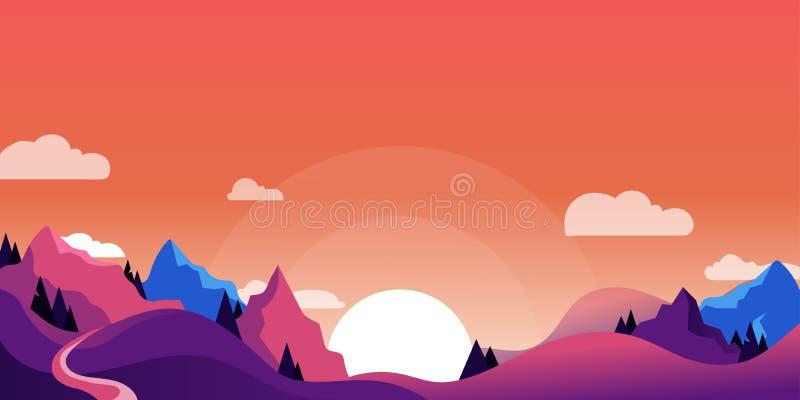 Berg kullelandskap, horisontalnaturbakgrund Vektortecknad filmillustration av den härliga rosa purpurfärgade solnedgången vektor illustrationer