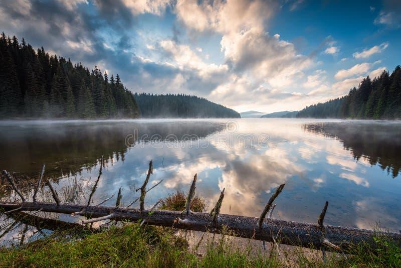 Berg lake i morgonen arkivbild