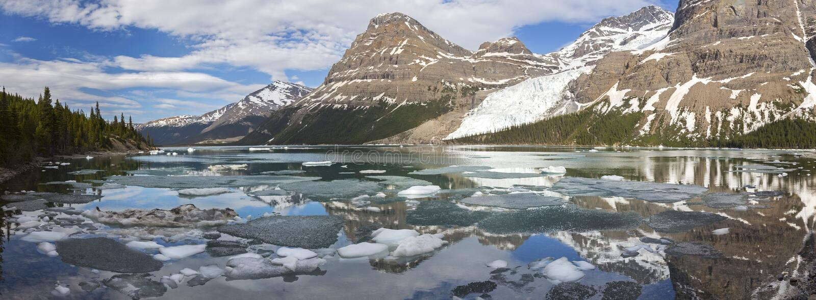 Berg Lake Panoramic Landscape View in Canadian Rocky Mountains stock images