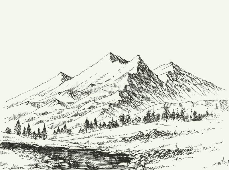 Berg landskap skissar stock illustrationer