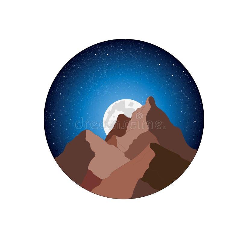 Berg, månen och den stjärnklara himlen royaltyfri illustrationer