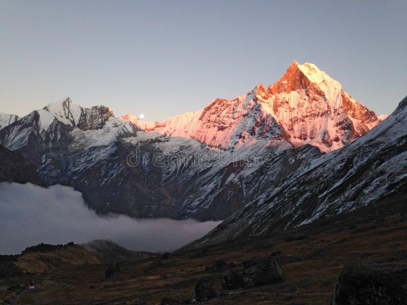 Berg Machapuchare, rand en maan stock foto