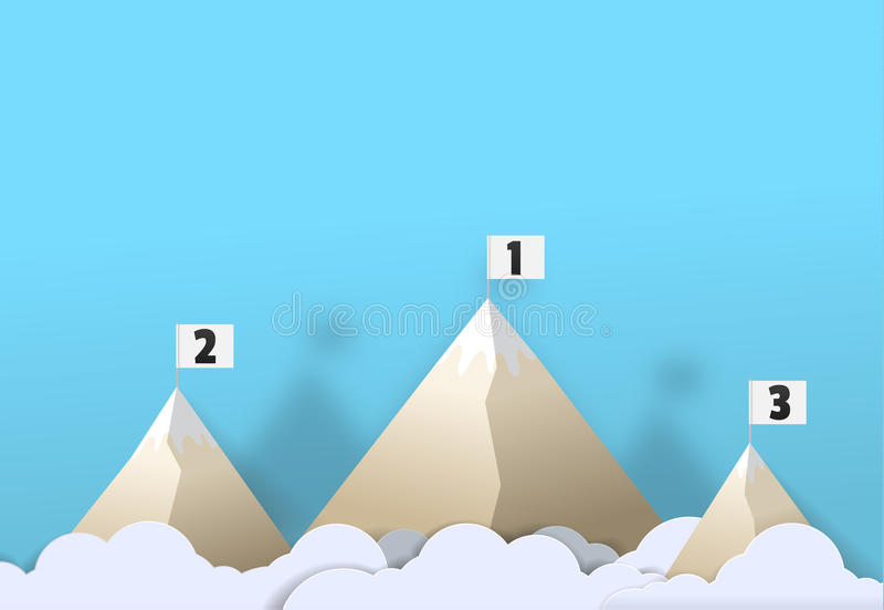 Berg med broderad illustrat för konst för flaggavektorpapper gullig vektor illustrationer