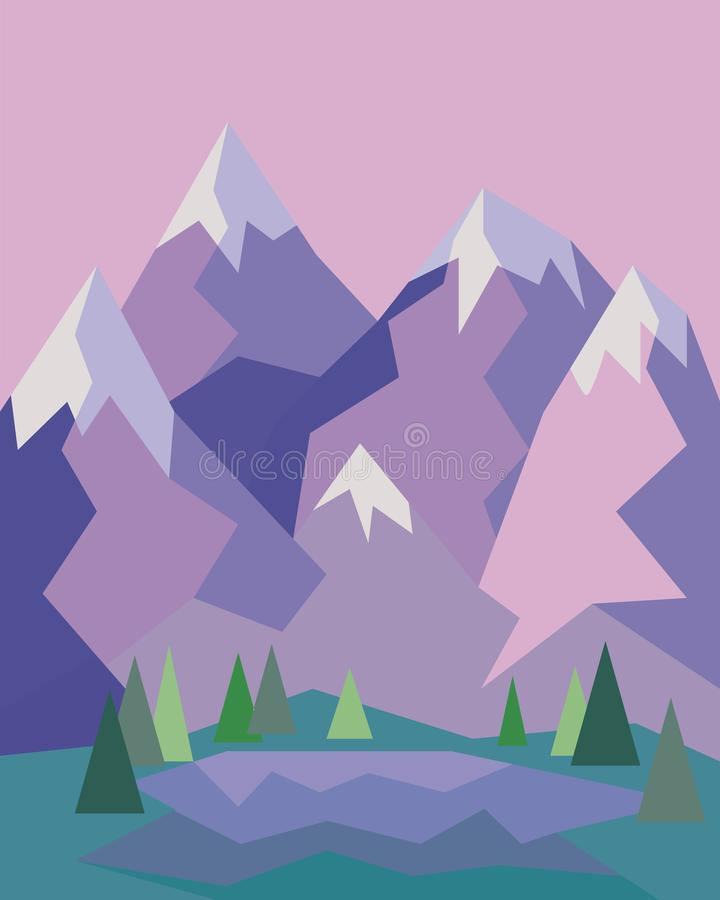 Berg med en liten sj? och tr?d i geometrisk stil royaltyfri illustrationer