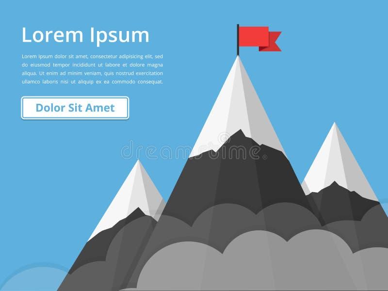 Berg med flaggan royaltyfri illustrationer