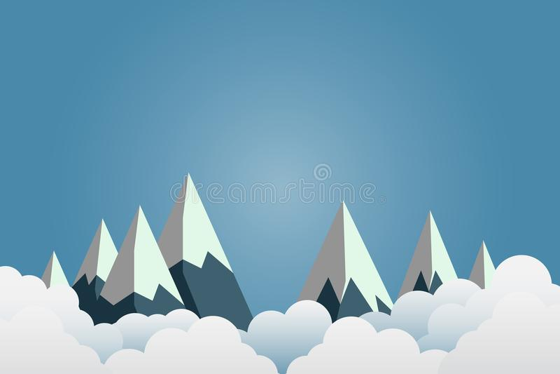 Berg med härliga solnedgångar över molnen Pappers- konst illustration vektor illustrationer