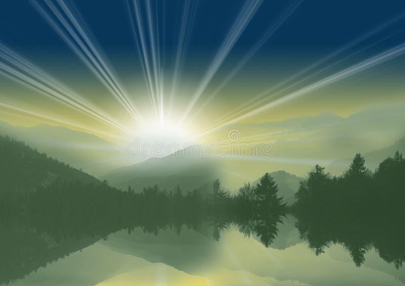 Berg med natthimmel och sjö med reflexion royaltyfria bilder