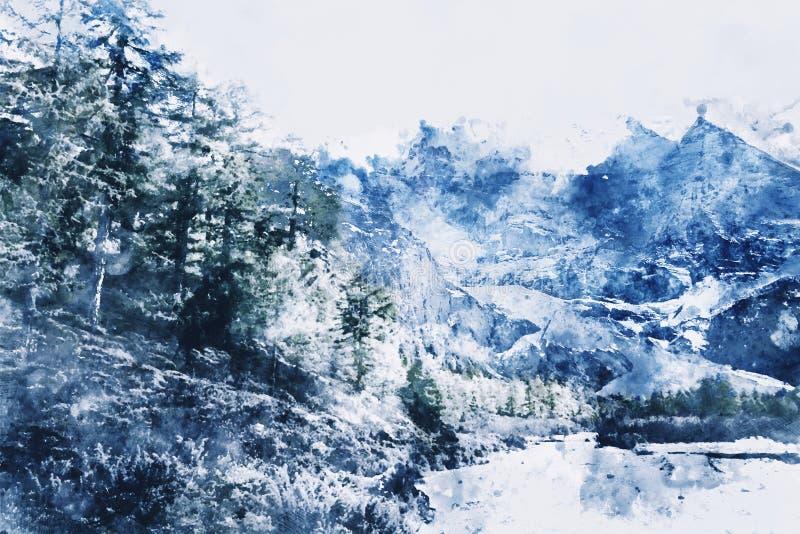 Berg med snö och pinjeskog i vinter royaltyfri illustrationer