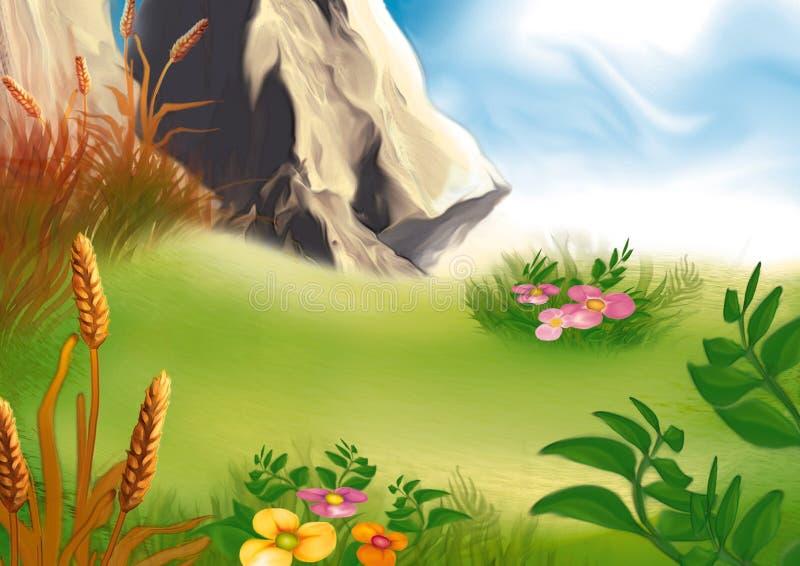 Berg medow royalty-vrije illustratie