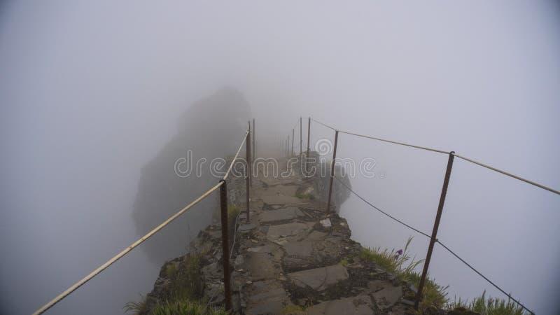 Berg met mist stock afbeelding