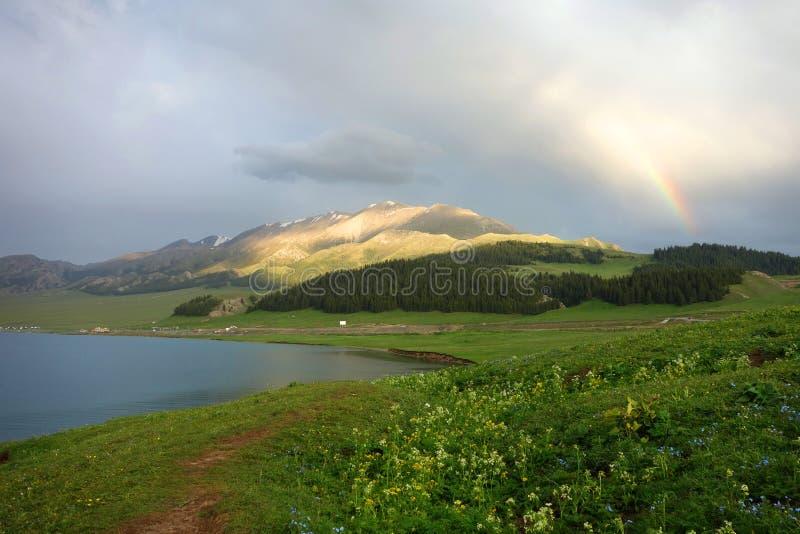 Berg met regenboog stock foto