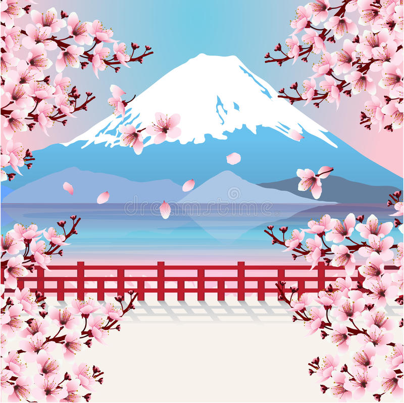 Berg mit Kirschblütenblumen lizenzfreie abbildung