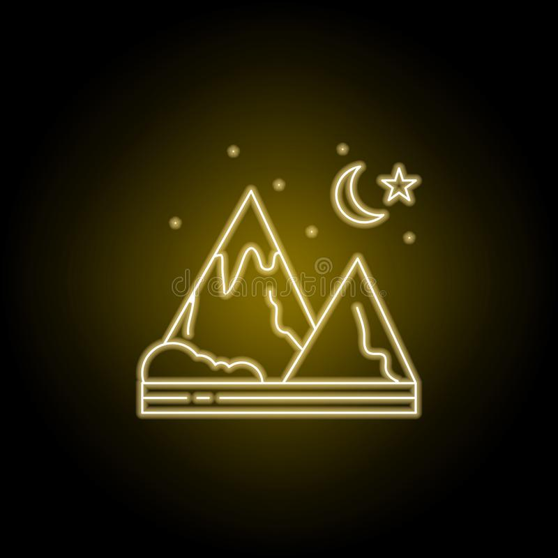 Berg, nacht, begin, het pictogram van de aardlijn in gele neonstijl Element van landschappenillustratie Tekens en symbolenlijnpic stock illustratie