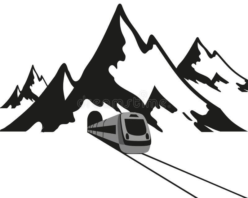 Berg och drevet lämnar tunnelen, den svarta logoen på en vit bakgrund, vektorillustration royaltyfri illustrationer