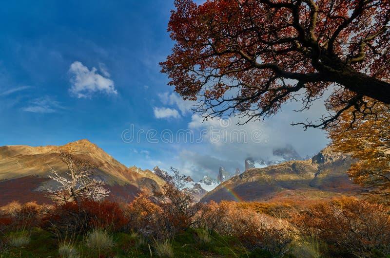 Berg och en regnbåge i nationalparken Los Glaciares Argentinsk Patagonia i höst arkivfoton