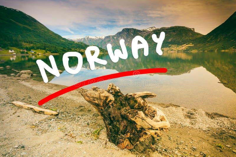 Berg och fjord i Norge, vektor illustrationer