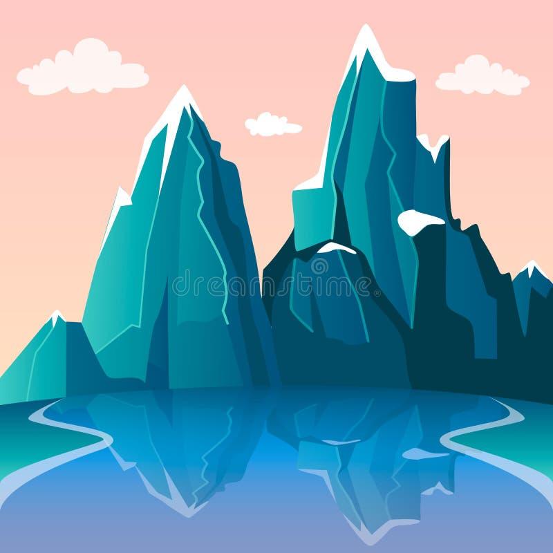 Berg- och sj?landskap Härlig sikt på den snömaxima och floden med reflexion Rosa lutninghimmel och moln royaltyfri illustrationer